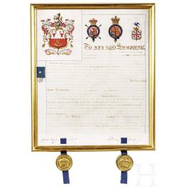 Großer Wappenbrief für Captain William Hartshorn, datiert 1855