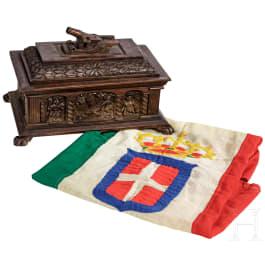 Corpo dei Bombardieri (1916 - 1919) - A war flag and a presentation casket