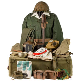 A set comprising uniform and equipment belonging to a World War II non-commissioned army officer