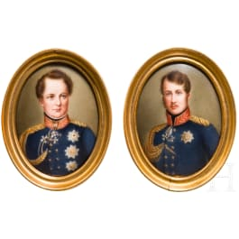 A pair of porcelain-miniatures with portraits of Friedrich Wilhelm III. and IV., Berlin, circa 1840/50