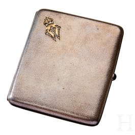 A Kaiser Wilhelm II Silver Gift Cigarette Case with Diamonds