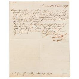Erzherzog Carl von Österreich-Teschen - a signed letter 1798