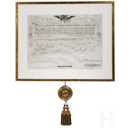 Emperor Ferdinand I - A large certificate of appointment as Commander of the Imperial Leopold Order, dated 1836