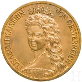 Empress Elisabeth of Austria - a gilded portrait plaque after the portrait of F. X. Winterhalter