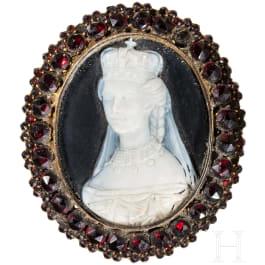 Kaiserin Elisabeth von Österreich - Trauerbrosche mit Kameenportrait