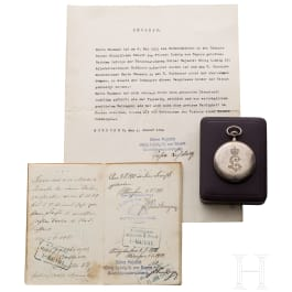 King Ludwig III of Bavaria - a cased presentation watch with documents to the recipient (cook)