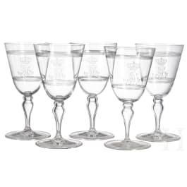 Bavarian royal family - Prince and Princess Alfons of Bavaria (1862-1933) - five red wine glasses