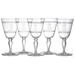 Bavarian royal family - Prince and Princess Alfons of Bavaria (1862-1933) - five white wine glasses