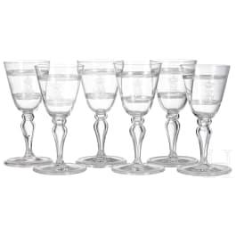 Bavarian royal family - Prince and Princess Alfons of Bavaria (1862-1933) - six wine glasses
