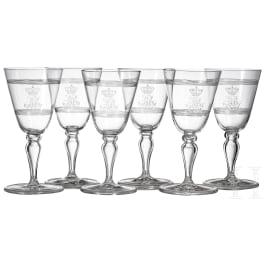 Bavarian Royalt family - Prince and Princess Alfons of Bavaria (1862-1933) - six sherry glasses
