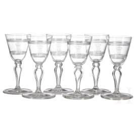 Bavarian Royal family - Prince and Princess Alfons of Bavaria (1862-1933) - six liqueur glasses