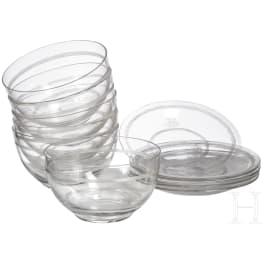 Bavarian royal family - Prince and Princess Alfons of Bavaria (1862-1933) - six glass bowls with saucers