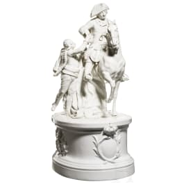 """A porcelain group """"Frederick the Great on horseback with hussar"""", Meissen, 20th century"""