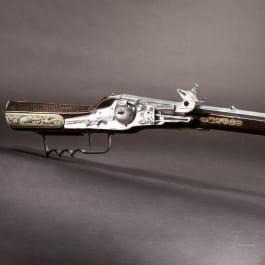 A military wheel-lock rifle by Balthasar Dressler in Dresden, dated 1596