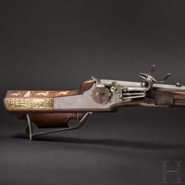 A South German wheellock rifle from the armoury of the princes of Salm-Reifferscheidt, dated 1649