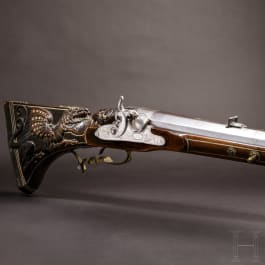 A significant heavy percussion target rifle, Leipzig, dated 1734