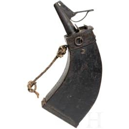 Hölzerne Musketier-Pulverflasche, deutsch, um 1600