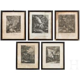 Five hunting engravings, Elias Ridinger, Augusburg, ca. 1760