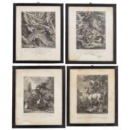 Four hunting engravings, Johann Elias Ridinger, Augsburg, ca. 1760