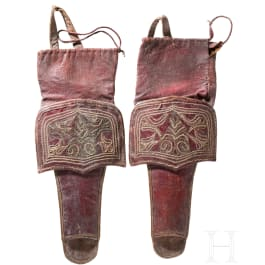 A pair of embroidered Moroccan pistol holsters, 1st half of the 19th century