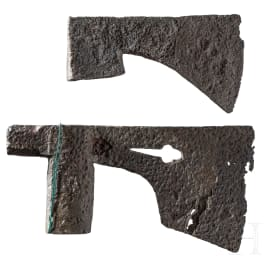 Two German axe heads, 15th century