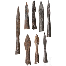 A collection of German bolts and arrowheads, 14th - 16th century