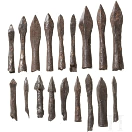 18 German arrow and bolt tips, 14th - 16th century