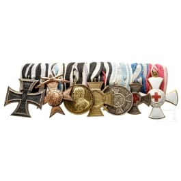 A Bavarian seven-piece medal bar
