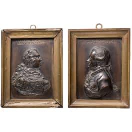 Ein Paar Bronzeplaketten, Friedrich II. von Preußen und Moritz Graf von Lacy, deutsch, um 1770