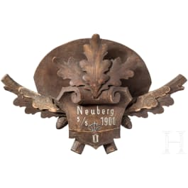 Emperor Franz Joseph I - wood-carved wall piece for a capercaillie plumage, hunting lodge Neuberg an der Mürz, 5.5.1900