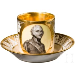 A coffee cup with hand-painted portrait of Tsar Alexander I, complete with saucer, Russian porcelain manufactory Safronov, first third of the 19th century