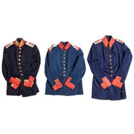 """Baden - three tunics of the 2nd Baden Grenadier Regiment """"Kaiser Wilhelm I."""" No. 110, circa 1900"""