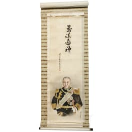 Japan - a scroll painting of Admiral Togo, Meiji period