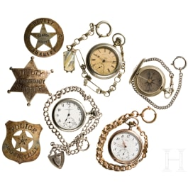 USA - three sheriff's badges, three pocket watches, one militarily used compass