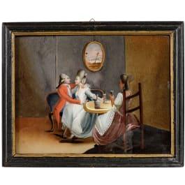 Hinterglasbild mit Galanterieszene, süddeutsch, um 1760