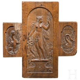 A carved northern German or Flemish wooden panel depicting the goddess Ceres, circa 1600