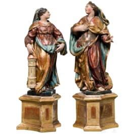 Ein Paar Heiligenfiguren, Katharina und Barbara, süddeutsch, Mitte 18. Jhdt.