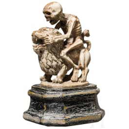 A Memento Mori of Death riding on a lion in baroque style