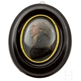 A French oval portrait of a gentleman in polychromely painted wax, circa 1800