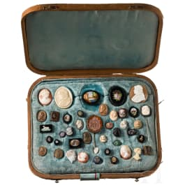 An Italian extensive stone and gem collection in old leather case, 19th century and earlier