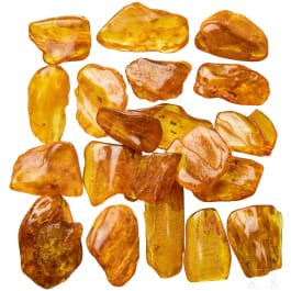 20 amber stones with inclusions, Baltic area