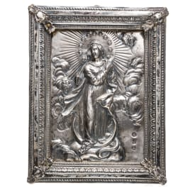 A Maria Immaculata figure in a halo of marked silver, circa 1800