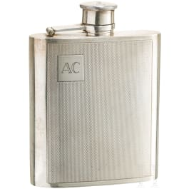 An English silver pocket flask, London, 20th century