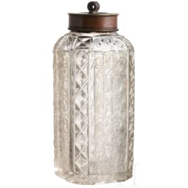 A small South German screw-top bottle with etched decoration, 19th century