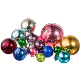 A group of 14 southern German glass balls for garden decoration, 2nd half of the 19th century