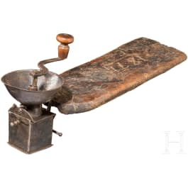 A small iron coffe or spice mill, Alpine region, dated 1874
