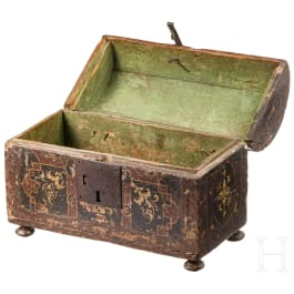 A small French Renaissance chest with round lid, 17th century