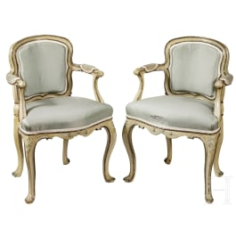 A pair of remarkable Italian Rococo fauteuils for children, 18th century