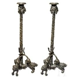 A pair of fine Italian bronze candelabras in Renaissance style, 19th century