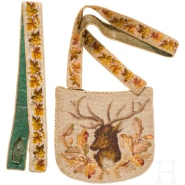 A hunting bag and rifle strap with pearl embroidery, German, mid-19th century